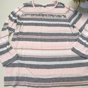 CJ Banks Sz 2x pink/gray/white sparkle sweater